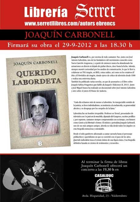 """Joaquín Carbonell con su último ÉXITO! """"Querido Labordeta"""" EN DIRECTO!!! El  próximo sábado 29 de septiembre a partir de las 18 30 en VALDERROBRES!!! c99cd515aefc3"""